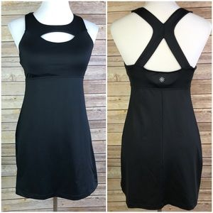 Athleta Small Black Cut Out Built in Bra Dress